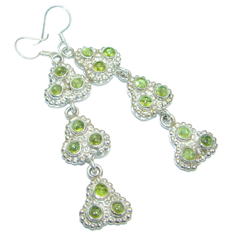 Long Authentic Peridot .925 Sterling Silver handmade earrings