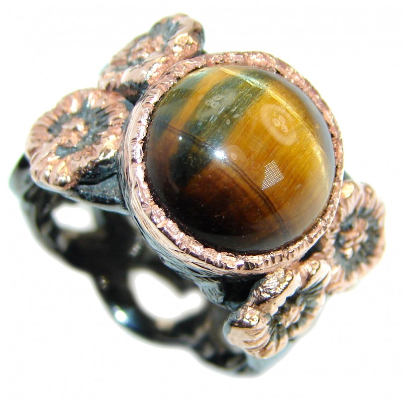 Golden Tigers Eye Rose Gold plated over .925 Sterling Silver ring s. 9