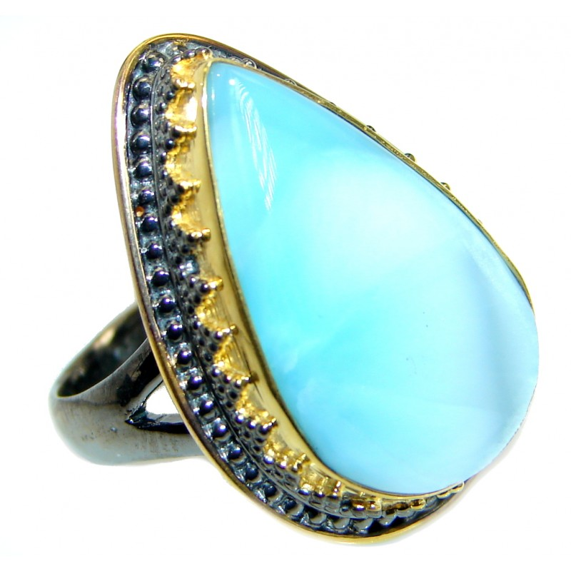 Genuine Larimar Gold plated over .925 Sterling Silver Ring s. 7 adjustable