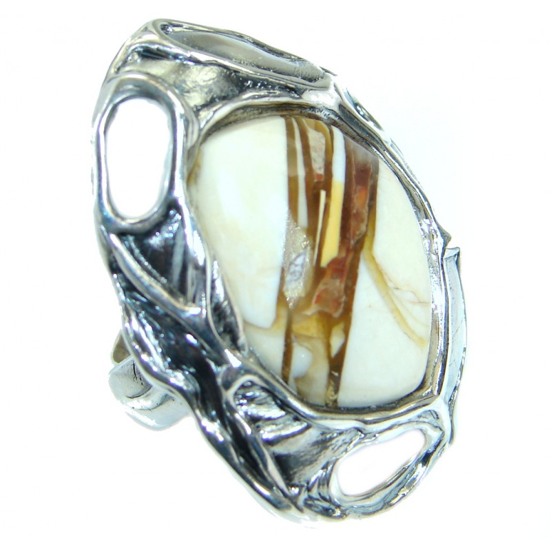 Huge Australian Brecciated Mookaite Sterling Silver Statment Ring size 7 adjustable