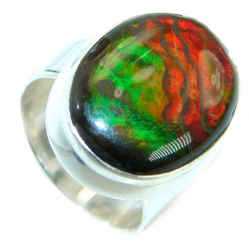 Pure Energy Fire Genuine Canadian Ammolite .925 Sterling Silver handmade ring size 7 adjustable