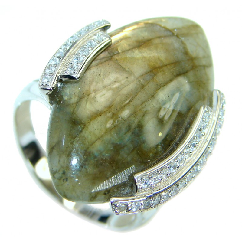 Very Fancy Fire Labradorite Sterling Silver Cocktail ring s. 11 1/4