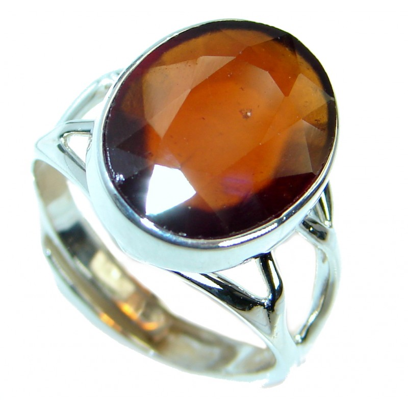 Genuine Hessonite Garnet Sterling Silver handmade Ring size 8 adjustable