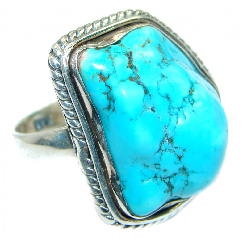 Blue Turquoise .925 Sterling Silver handmade Ring s. 10 1/2