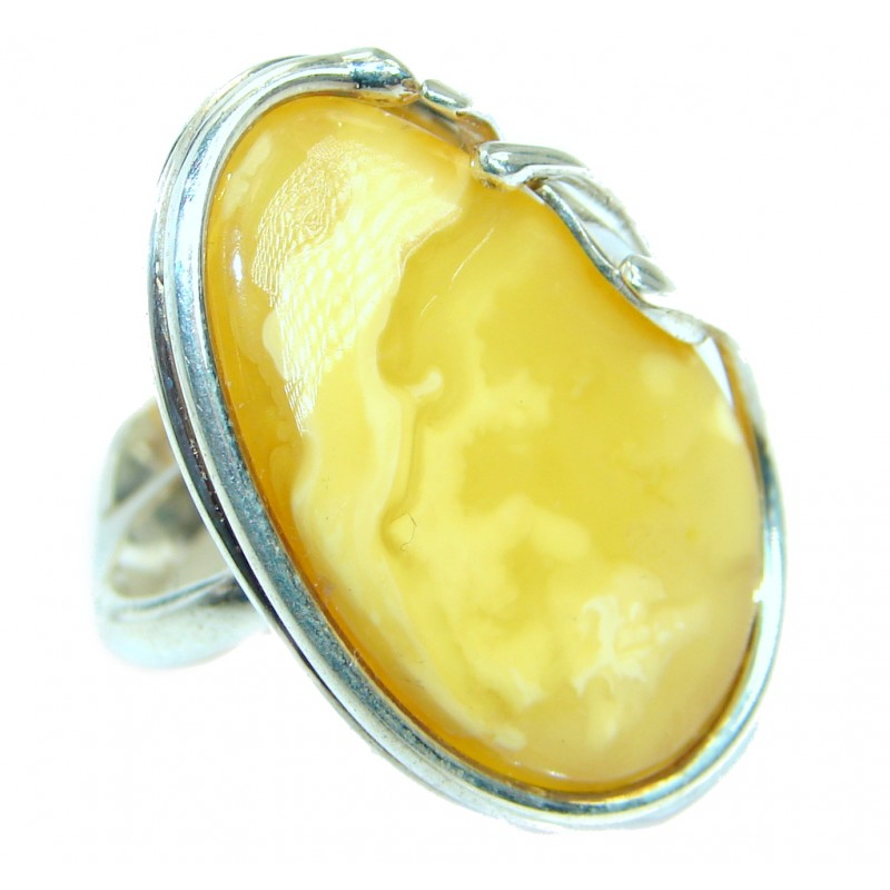 Genuine Butterscoth Baltic Polish Amber Sterling Silver handmade Ring size 5 adjustable