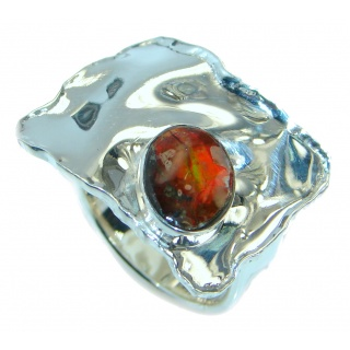 Unisex Rainbow Fire Ammolite hammered .925 Sterling Silver ring s. 6