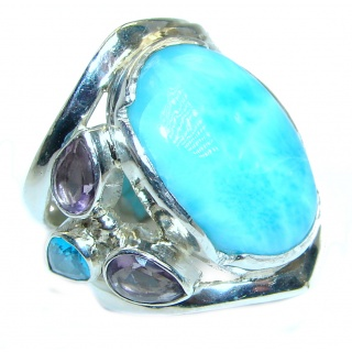 Stylish Design genuine Larimar .925 Sterling Silver Ring s. 6