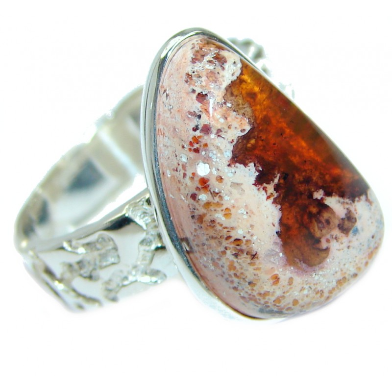 Classic Mexican Opal oxidized .925 Sterling Silver handcrafted ring size 8 1/4