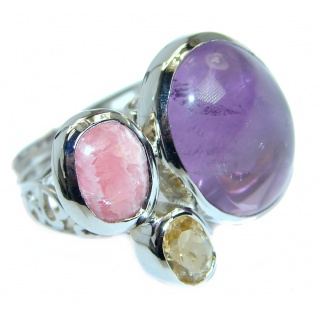 Unique Style genuine Amethyst Sterling Silver ring; s. 7 adjustable
