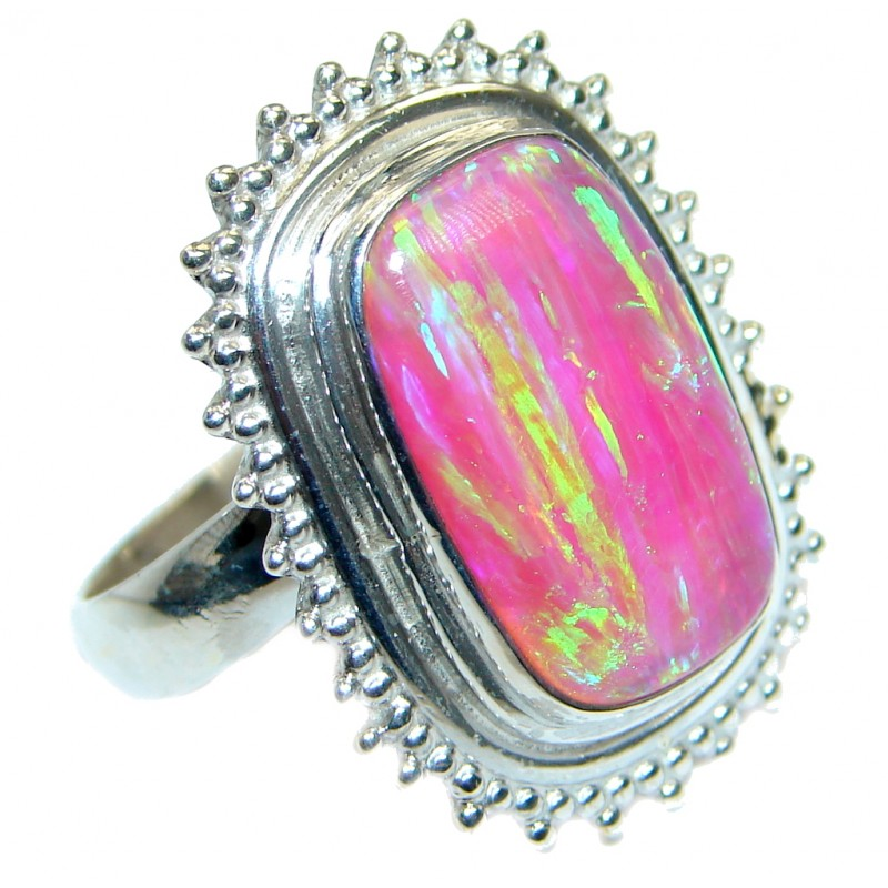 Pink Japanese Fire Opal .925 Sterling Silver ring size 8 adjustable