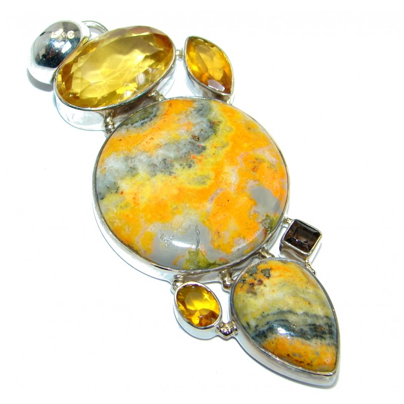 Intense Collected Storm Bumble Bee Jasper Sterling Silver handmade Pendant