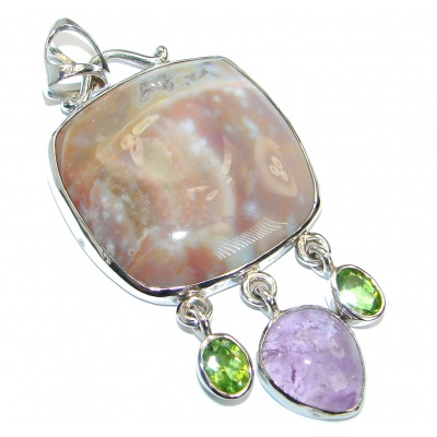 Huge One of the kind Natural Ocean Jasper Sterling Silver handmade Pendant