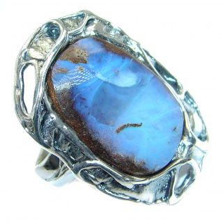Jumbo Classic Boulder Opal oxidized .925 Sterling Silver handcrafted Cokctail ring size 8 adjustable