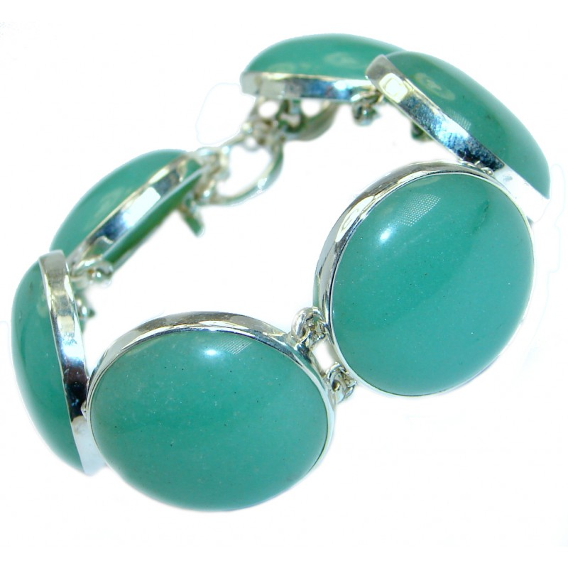 Great Protection Green Jade .925 Sterling Silver handmade Bracelet