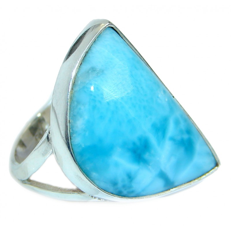 Stylish Design genuine Larimar .925 Sterling Silver handmade Ring s. 8