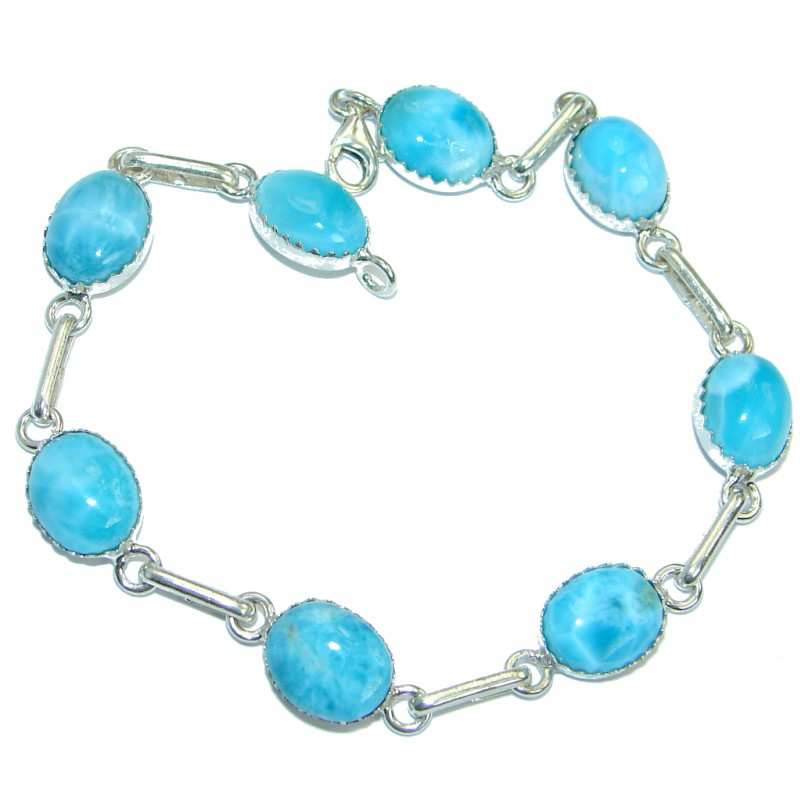 Flawless Passion Larimar .925 Sterling Silver handmade Bracelet
