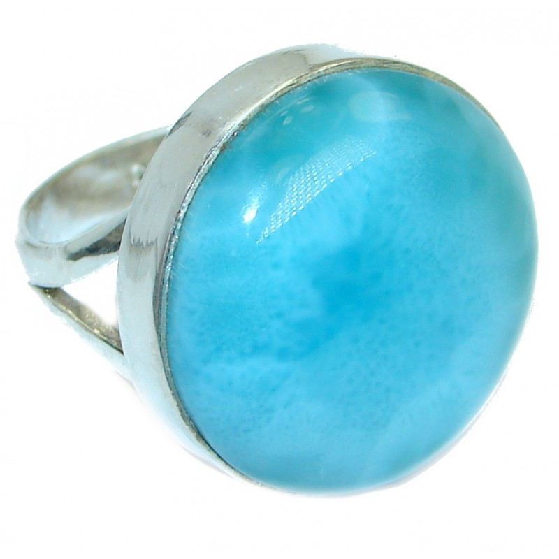 Stylish Design genuine Larimar .925 Sterling Silver handmade Ring s. 7 1/2