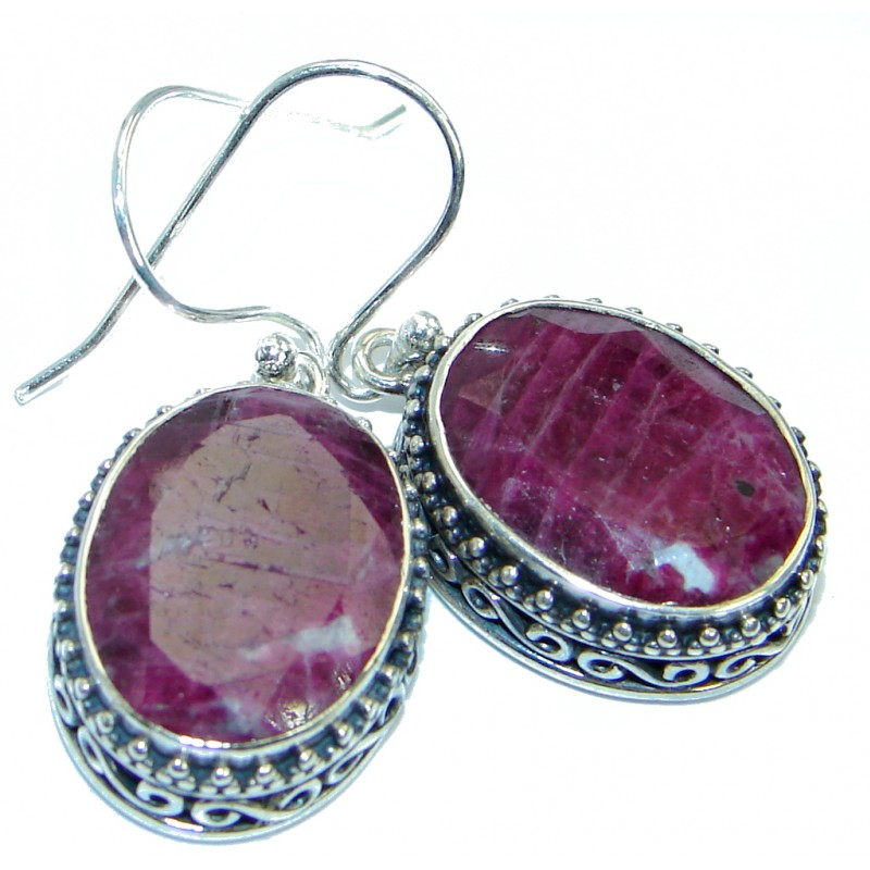 Authentic Ruby .925 Sterling Silver handmade earrings