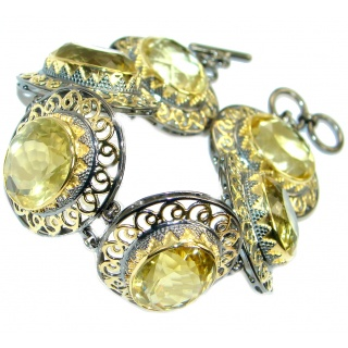 Real Treasure created Citrine Gold plated over .925 Sterling Silver handmade Bracelet