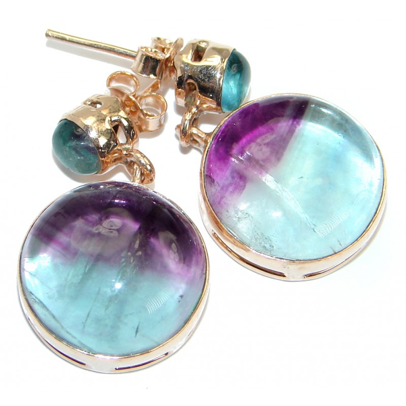 Genuine Purple Fluorite 18 ct. Gold Plated over .925 Sterling Silver stud earrings