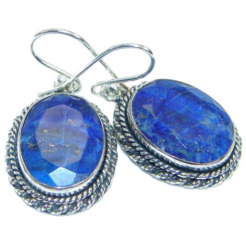 Bold Handcrafted Navy Blue Lapis Lazuli Sterling Silver handmade earrings
