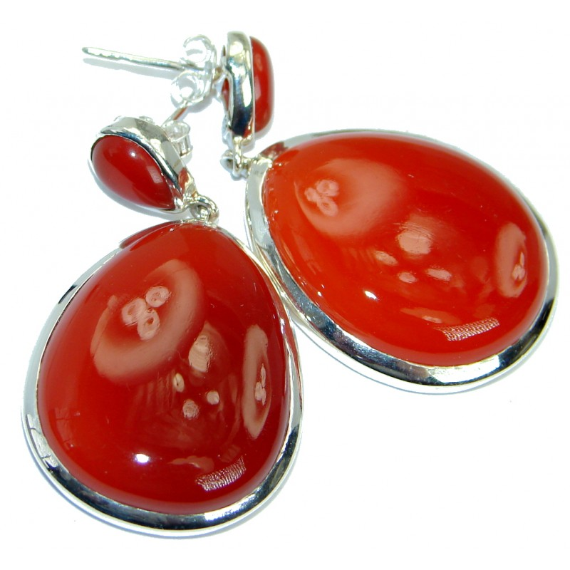 Jumbo Sublime genuine Orange Carnelian .925 Sterling Silver handmade earrings