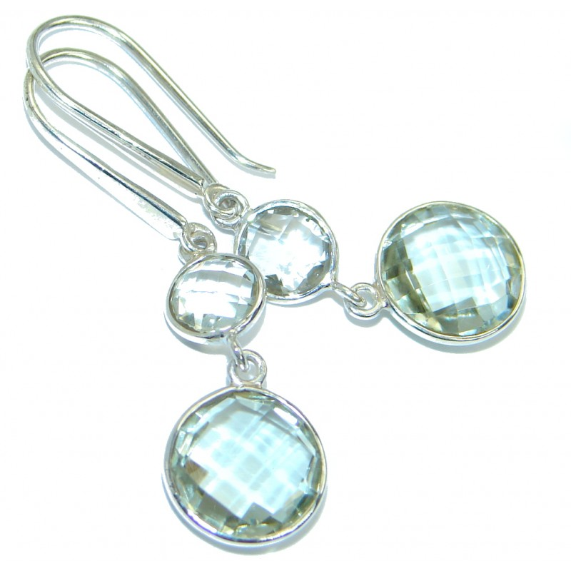 Perfect Green Amethyst Sterling Silver handmade earrings