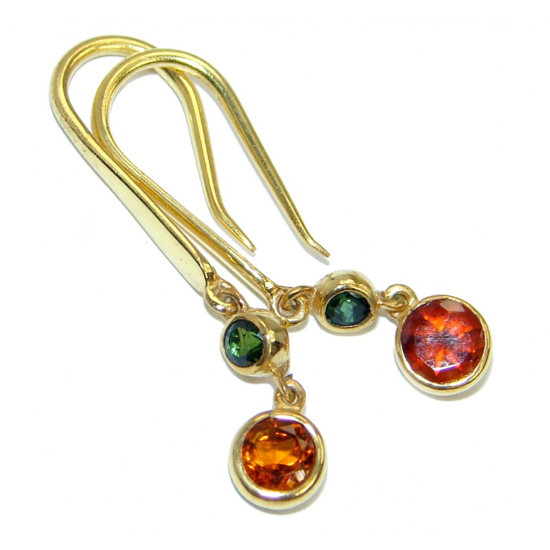Secret Beauty Orange Sapphire Gold plated over .925 Sterling Silver hook earrings