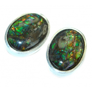 Red Aura Fire Ammolite hammered Sterling Silver handmade stud earrings