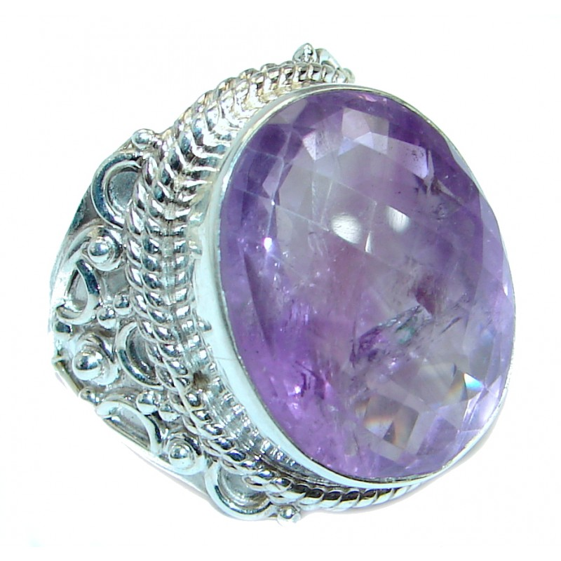 Vintage style Jumbo Unique Style Amethyst Sterling Silver ring; s. 9 1/4
