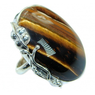 Bold Golden Tigers Eye Sterling Silver handmade ring s. 8 adjustable