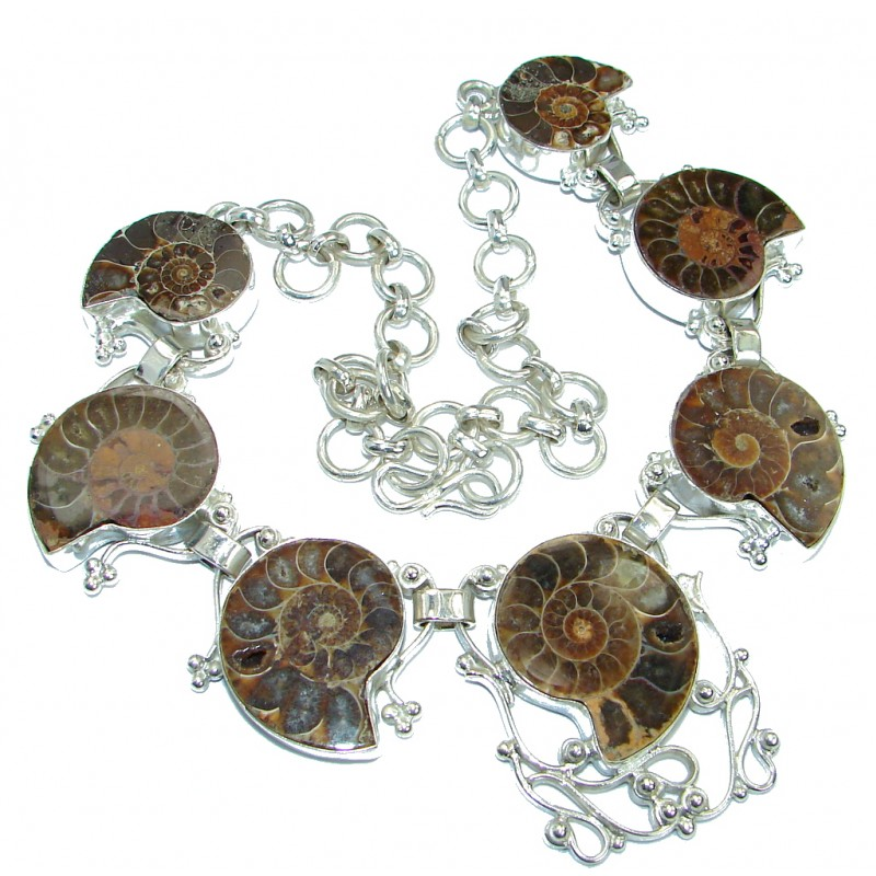 127.5g Aura Of Beauty genuine Ammonite Silver Tone handcrafted Necklace