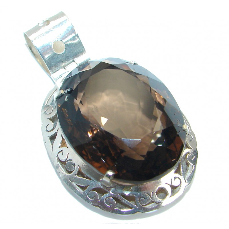 Huge Beauty Smoky Quartz Silver Tone handmade Pendant