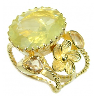 Huge Genuine Citrine Gold plated over Sterling Silver Cocktail Ring size 8 adjustable
