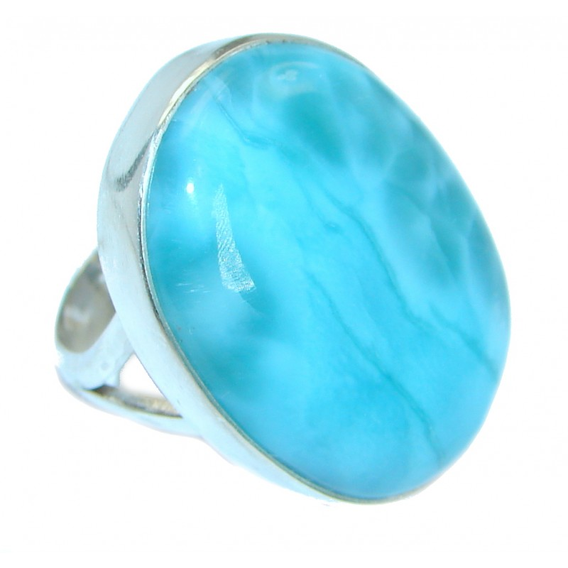 Stylish Design genuine Larimar .925 Sterling Silver handmade Ring s. 6 3/4