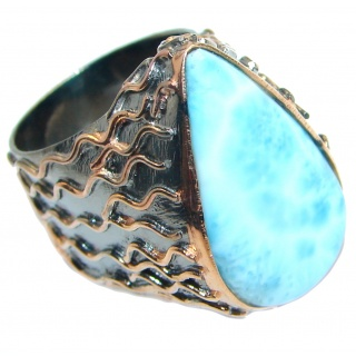 Genuine Larimar Rose Gold plated over .925 Sterling Silver Ring s. 5