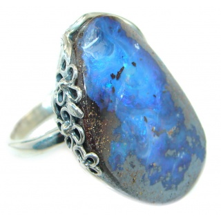 Classic Boulder Opal oxidized .925 Sterling Silver handcrafted ring size 8 adjustable