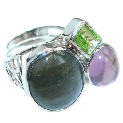 Blue Fire Labradorite Sterling Silver handmade ring size 6 adjustable
