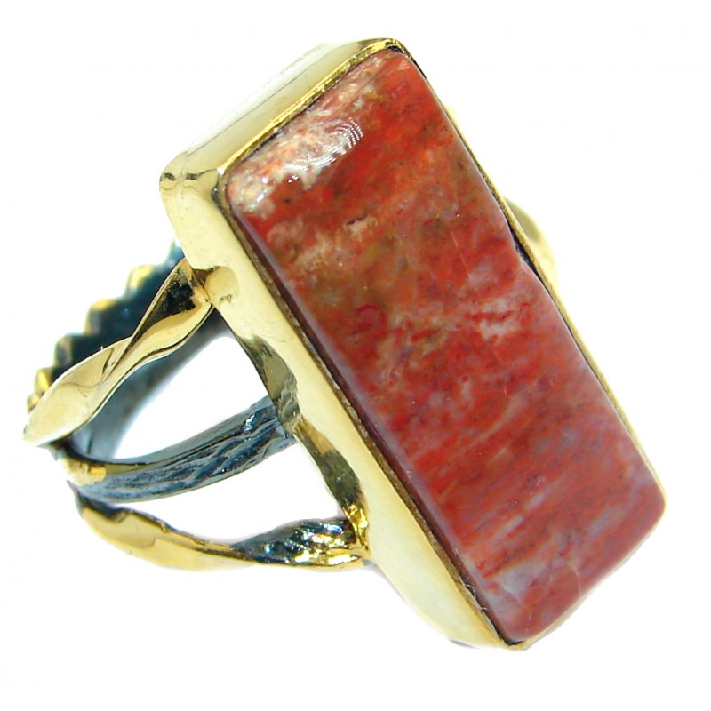 Simle Style Perfect Red Jasper Gold plated over .925 Sterling Silver handmade Ring s. 8 1/4