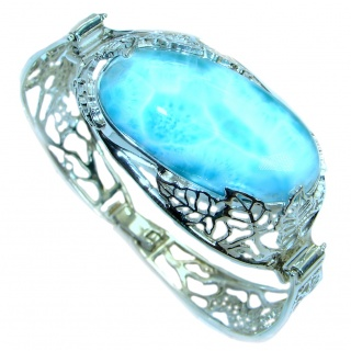 Great AAA+ quality Blue Larimar Oxidized highly polished Sterling Silver handmade Bracelet / Cuff