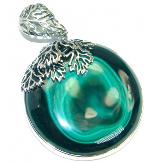 Vintage Style Green Malachite Oxidized .925 Sterling Silver handmade Pendant