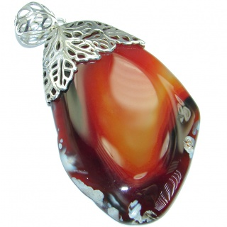 Huge Fine Art Natural Honey color Agate Sterling Silver handmade Pendant