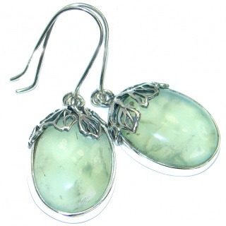 Authentic Moss Prehnite oxidized .925 Sterling Silver handmade earrings