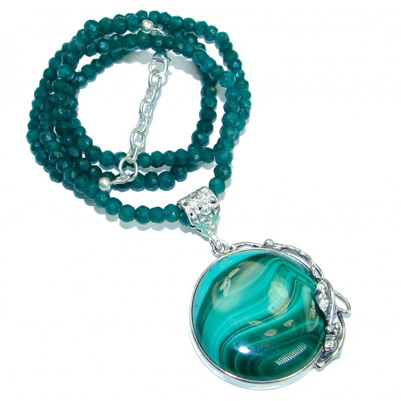 Huge Aura Of Beauty Green Malachite .925 Sterling Silver handcrafted necklace