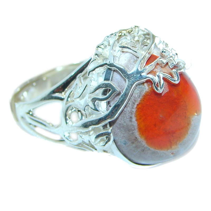 Orange Mexican Opal .925 Sterling Silver handcrafted ring size 6 adjustable
