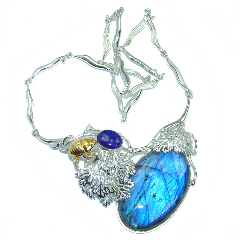 One of the kind Nature inspired Labradorite Lapis Lazuli Two Tones .925 Sterling Silver handmade necklace