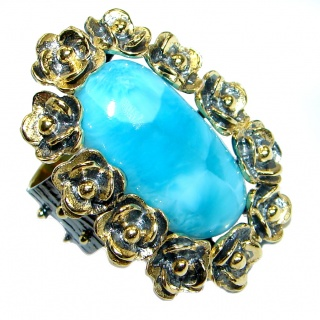 Large Floral Design genuine Larimar Gold plated over .925 Sterling Silver Ring s. 8 adjustable