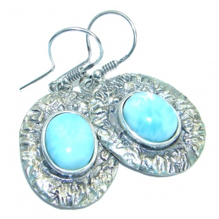 Precious genuine Blue Larimar .925 Sterling Silver handmade earrings