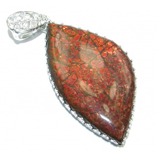 One of the kind Authentic Beauty Canadian Ammolite Sterling Silver handmade Pendant