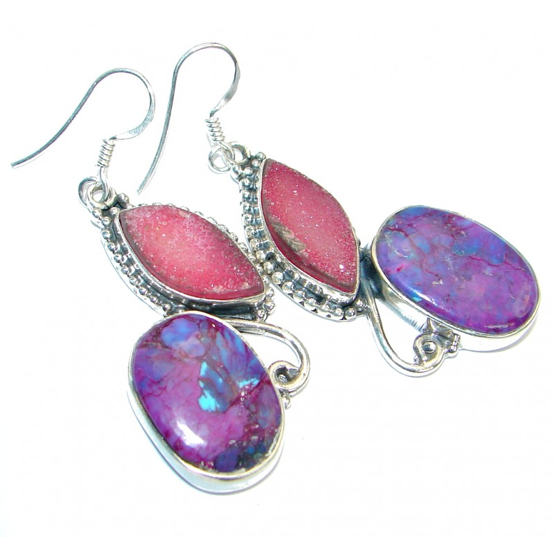 Long Purple Turquoise Sterling Silver handmade earrings